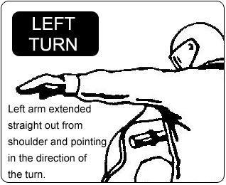 Snowmobile Left Turn Hand Signal