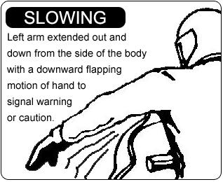 Snowmobile Slowing Hand Signal